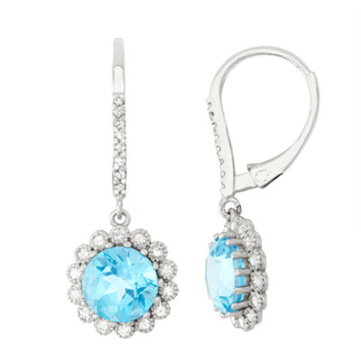 1/3 CT. T.W. Genuine Blue Topaz 10K Gold Drop Earrings