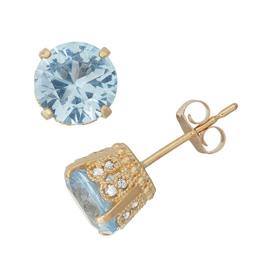 Lab Created Aquamarine And 1/6 C.T. T.W.  Diamond 10K Yellow Gold Earrings