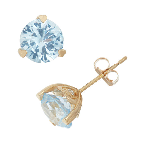 Lab Created Aquamarine And Diamond Accent 10K Yellow Gold Earrings
