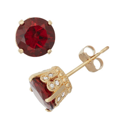 Genuine Garnet And 1/6 C.T. T.W.  Diamond 10K Yellow Gold Earrings