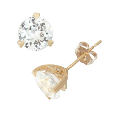 Lab Created Garnet And Diamond Accent 10K Yellow Gold Earrings