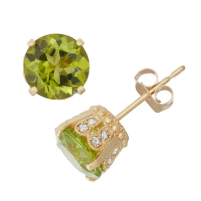 Genuine Peridot And 1/6 C.T. T.W.  Diamond 10K Yellow Gold Earrings