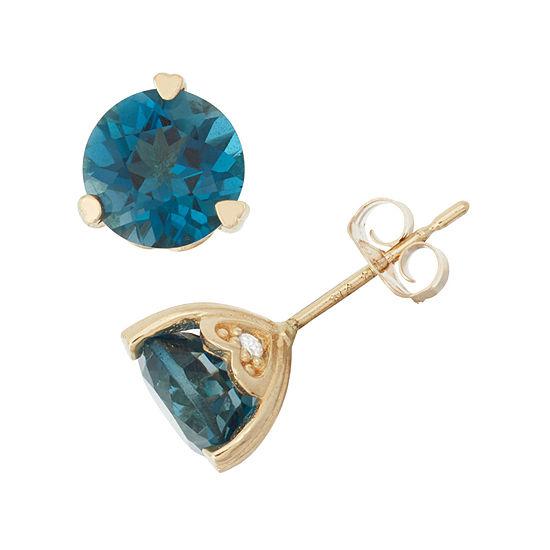 Genuine Peridot And Diamond Accent 10K Yellow Gold Earrings