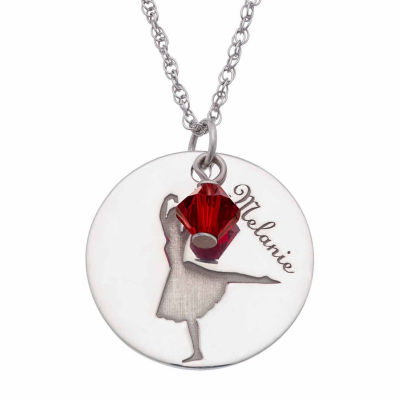 Personalized Sterling Silver Crystal Birthstone Ballet Name Pendant Necklace