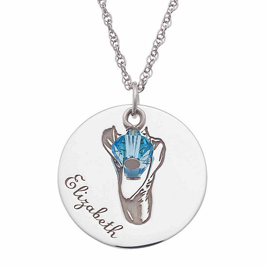 Personalized Sterling Silver Crystal Birthstone Ballet Shoes Pendant Necklace