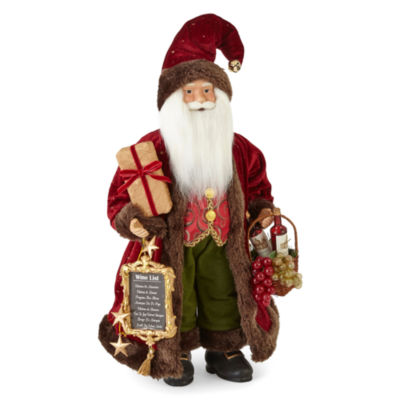 "North Pole Trading Co. Winter Lodge 18"" Wine Santa"