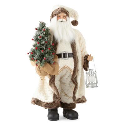 """North Pole Trading Co. Nordic Frost 36"""" White Fur Santa"""