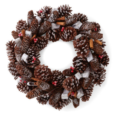 """North Pole Trading Co. Nordic Frost 20"""" Pine Cone"""" Indoor/Outdoor Christmas Wreath"""