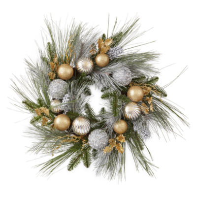 "North Pole Trading Co. Nordic Frost 24"" Pine And Ornament"" Indoor/Outdoor Christmas Wreath"