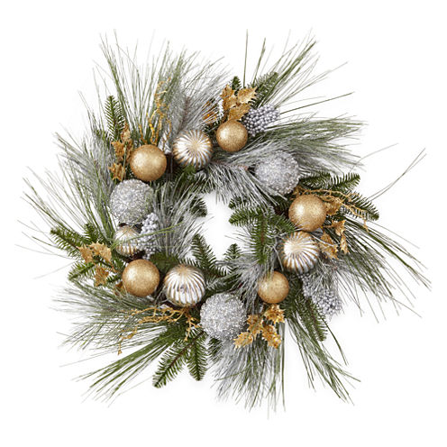 """North Pole Trading Co. Nordic Frost 24"""" Pine And Ornament"""" Indoor/Outdoor Christmas Wreath"""