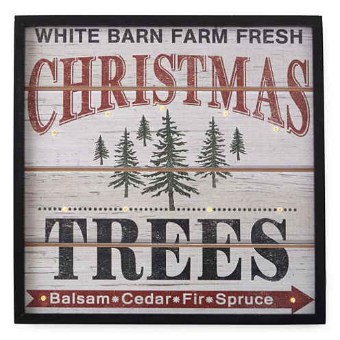 North Pole Trading Co. Winter Lodge LED Tree Farm Wall Sign