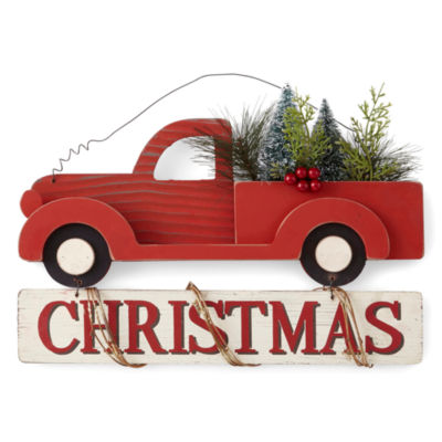 North Pole Trading Co. Winter Lodge Red Truck Wall Sign