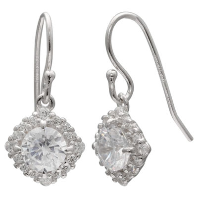 Silver Treasures Clear Round Drop Earrings