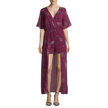 My Michelle Short Sleeve Floral Maxi Dress-Juniors