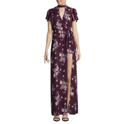 TrixxiShort Sleeve Floral Maxi Dress-Juniors