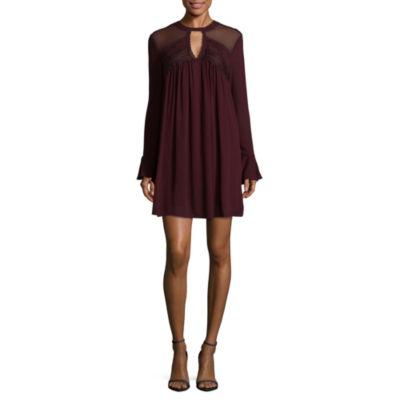 Hint of Mint Long Sleeve A-Line Dress-Juniors