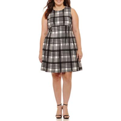 Spense Sleeveless Plaid Fit & Flare Dress-Plus