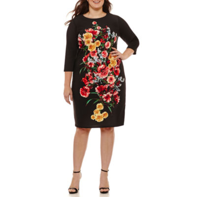 Weslee Rose 3/4 Sleeve Floral Sheath Dress-Plus