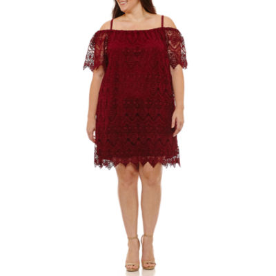 Sharagano Short Sleeve Scroll Sheath Dress-Plus