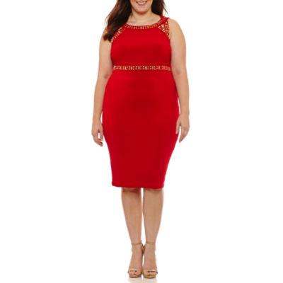 Melrose Sleeveless Embellished Sheath Dress-Plus