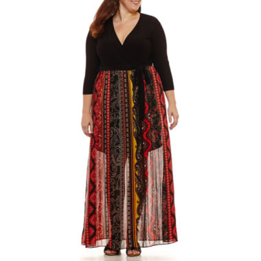 Weslee Rose 3/4 Sleeve Geo Linear Maxi Dress-Plus