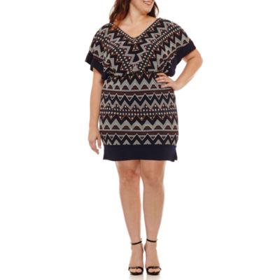 Melrose 3/4 Sleeve Blouson Dress-Plus