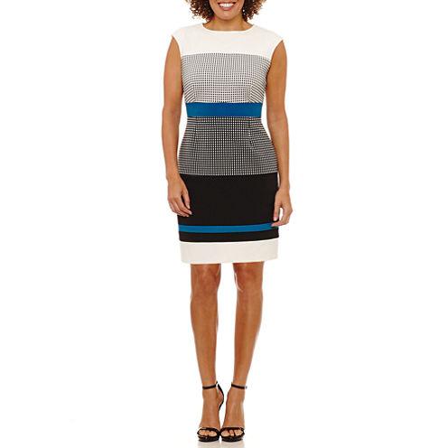 Studio 1 Sleeveless Abstract Sheath Dress-Petites