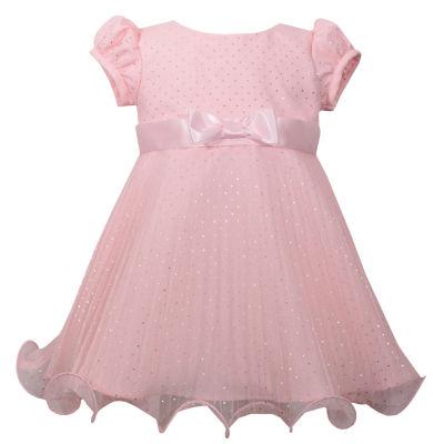 Bonnie Jean Short Sleeve Peach Sparkle Dots Dress - Baby Girls