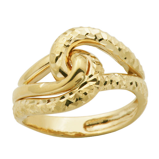 Made in Italy Womens 14K Gold Crossover Cocktail Ring