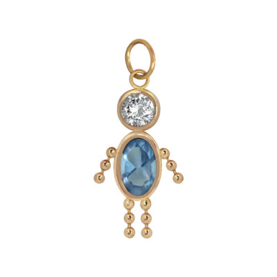 10K Gold March Birthstone Babies Boy Charm