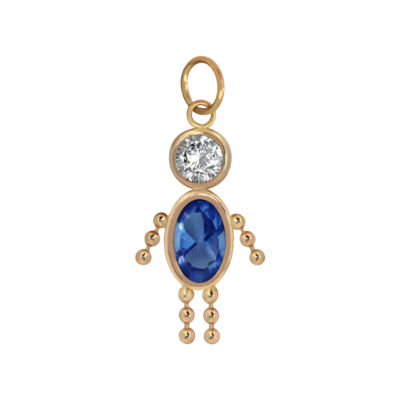 10K Gold September Birthstone Babies Boy Charm