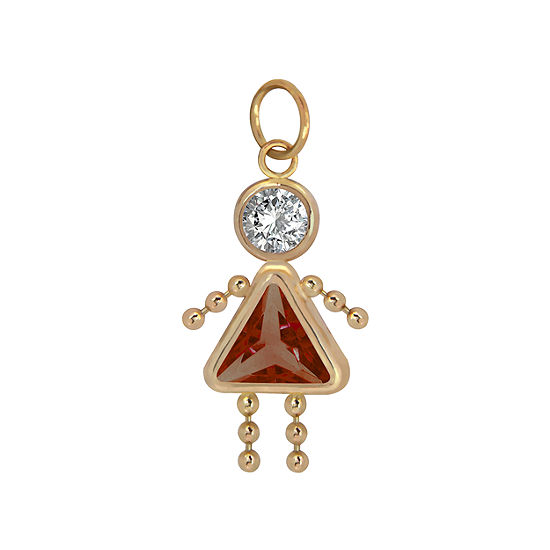 10K Gold January Birthstone Babies Girl Charm