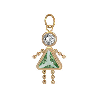 10K Gold August Birthstone Babies Girl Charm