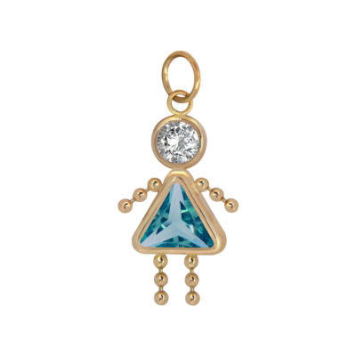 10K Gold December Birthstone Babies Girl Charm