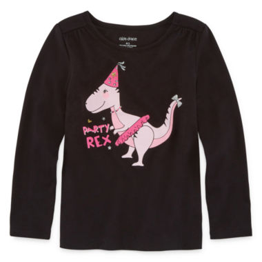 Okie Dokie Long Sleeve Crew Neck T-Shirt-Preschool Girls