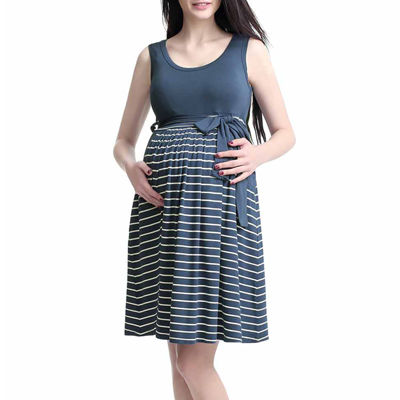 Glow & Grow Maternity Scoop Neck Striped Dress