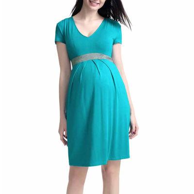 Glow & Grow Maternity Contrast Pleated Dress