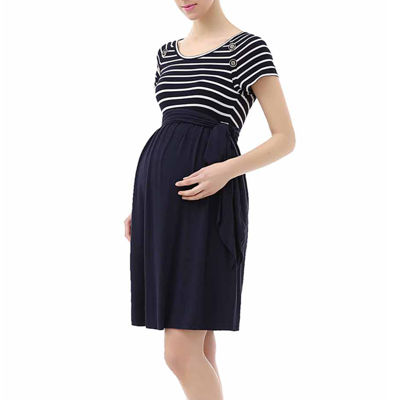 Glow & Grow Maternity Striped Belted Tie Dress