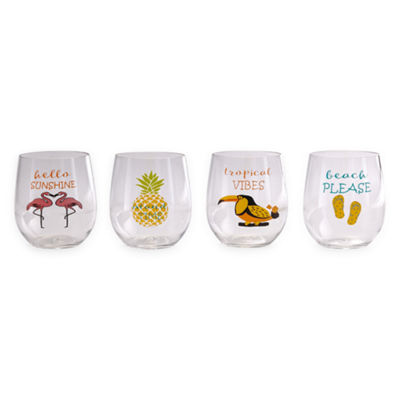 Outdoor Oasis Stemless Word 4-pc. Wine Glass