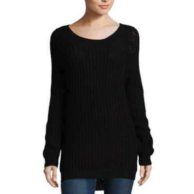 Almost Famous Long Sleeve Crew Neck Pullover Sweater-Juniors