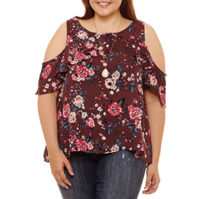 Self Esteem Sleeveless Round Neck Woven Floral Blouse-Juniors Plus