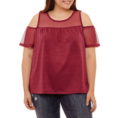 Self Esteem Short Sleeve Round Neck Knit Blouse-Juniors Plus