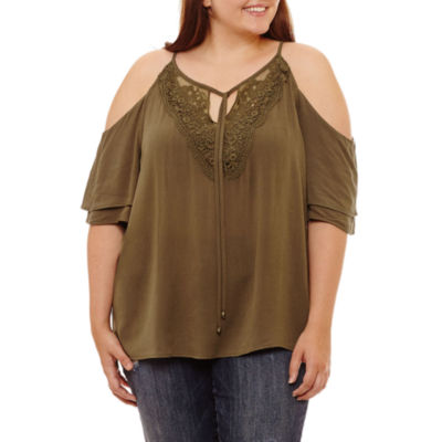 by&by Short Sleeve Round Neck Woven Embroidered Blouse-Juniors Plus