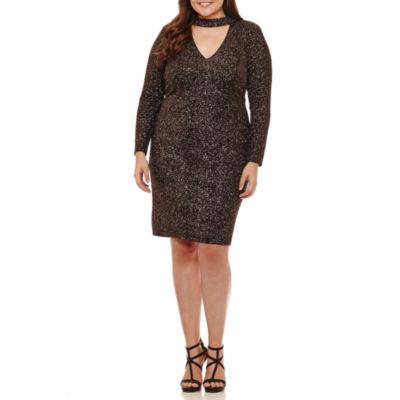 B. Darlin Long Sleeve Party Dress-Juniors Plus