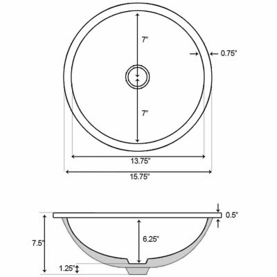 American Imaginations 15.75-in. W x 15.75-in. D CUPC Certified Round Undermount Sink In White Color