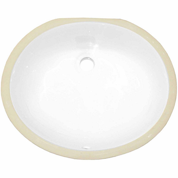 American Imaginations 18.25-in. W x 15.25-in. D CSA Certified Oval Undermount Sink In White Color
