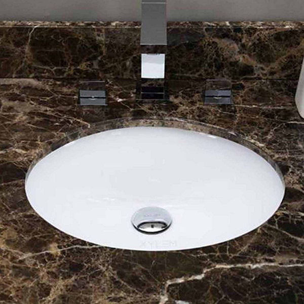 American Imaginations 16.5-in. W x 13.25-in. D CSA Certified Oval Undermount Sink In White Color