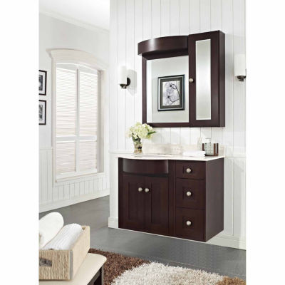 American Imaginations Tiffany Rectangle Wall Mount4-in. o.c. Faucet Birch Wood-Veneer Vanity Set InCoffee
