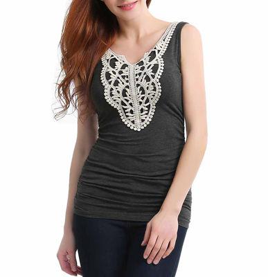 phistic Women's Crochet Lace Neck Tank Top