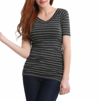 phistic Women's V-Neck Striped Top